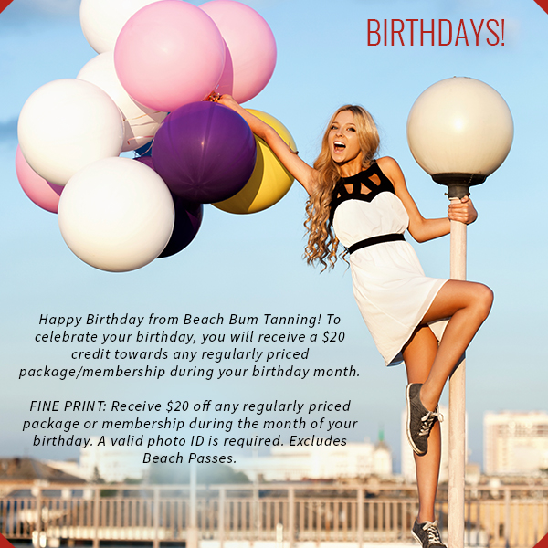 $20 off any regularly priced package or membership during the month of your birthday